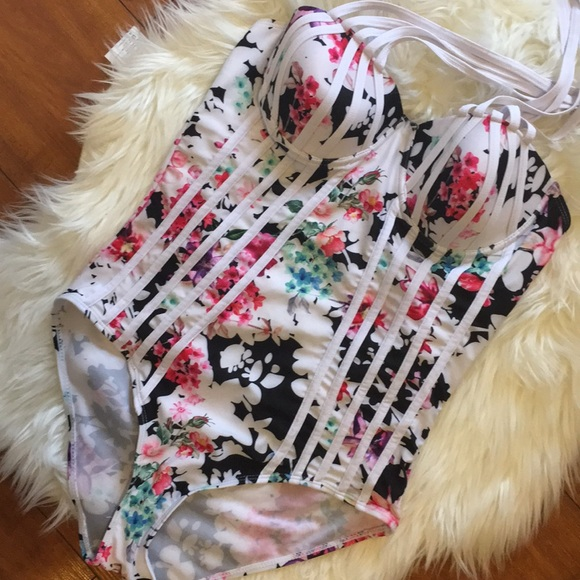 Other - One Piece Bathing Suit Floral with White accents